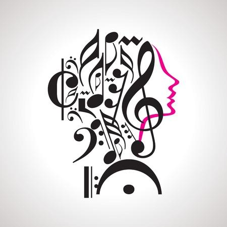 notas musicales: M�sica cabeza Vector Vectores