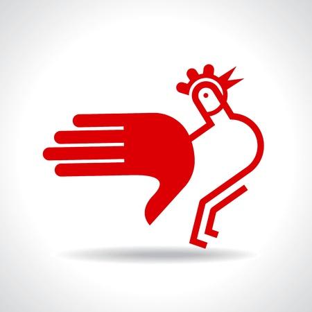 humane: hen with hand illustration