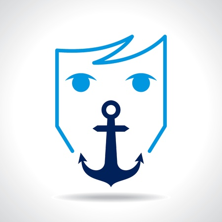 anchor man: anchor with human face Illustration