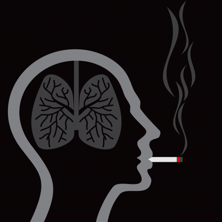 respiratory: cigarette burning human lungs on abstract background Illustration