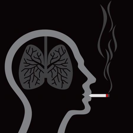 mal aliento: cigarrillo encendido pulmones humanos en fondo abstracto