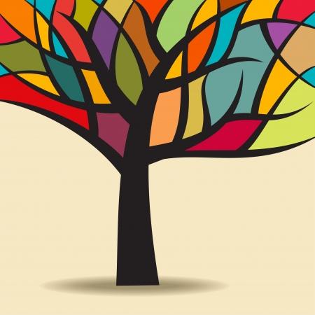 秋の抽象的な木  イラスト・ベクター素材