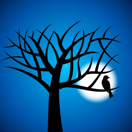 nocturnal: Halloween background with trees and moon Illustration