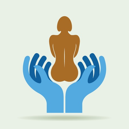 body on hand, body care, vector illustration