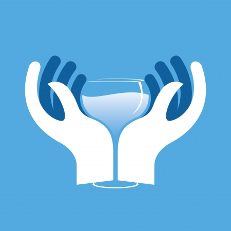 cheers: illustration of couple holding glass of wine