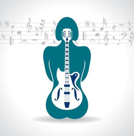 pop musician: Abstract musical background with woman back Illustration