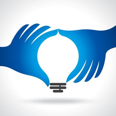 ahorro energia: llegar a idea con la mano humana Vectores