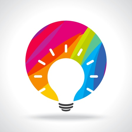 conceptual bulb: colourful idea Illustration