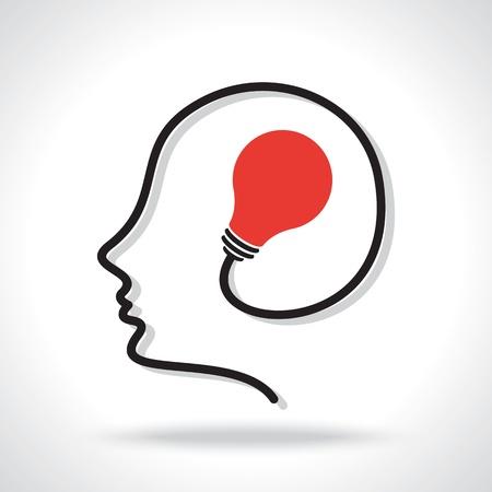 cerebro blanco y negro: una idea en la mente humana