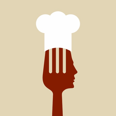 fork with chef hat vector Vector