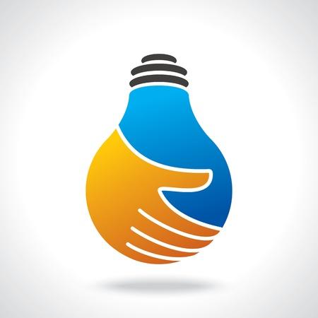 lightbulb icon: bulb idea with human hand