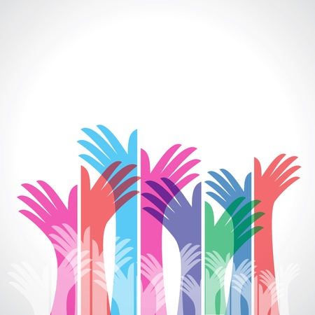 colorful up hands, vector illustration