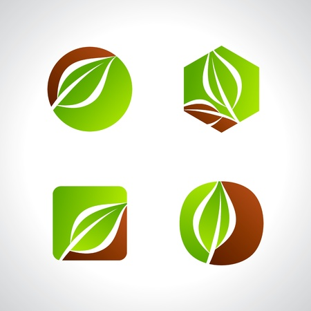 leaf logo: leaf icons logo and design elements Illustration