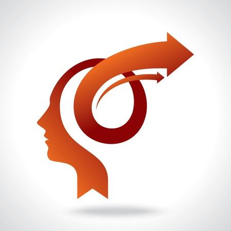 mente humana: vector de la mente de negocios con las flechas Vectores