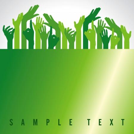 volunteers: green up hands, vector illustration