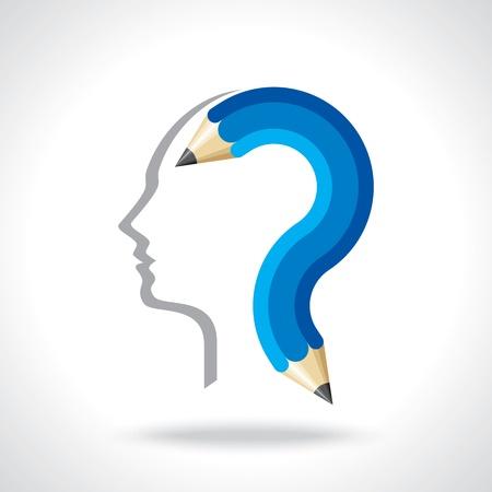 unsolvable: man thinking for education idea Illustration