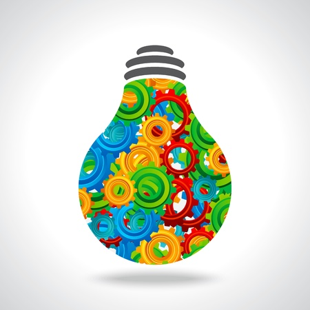 brilliancy: gear and bulb with colorful background Illustration