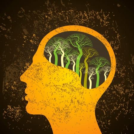 psychoanalysis: Brain tree illustration, tree of knowledge Illustration
