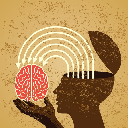 psique: idea retro con el cerebro humano Vectores