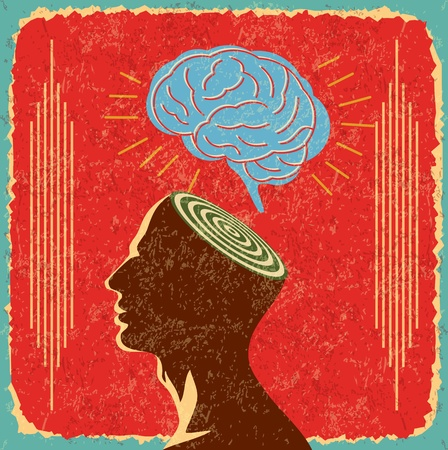 retro idea with human brain Stock Vector - 22104734