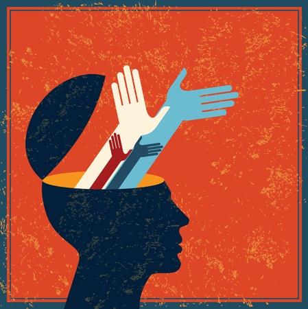 esquizofrenia: idea retro con el cerebro humano Vectores