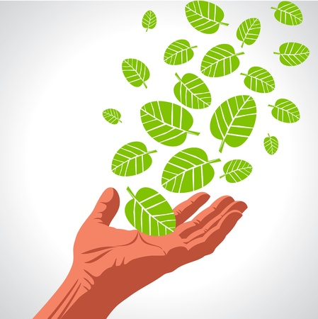 Green leaves hand Eco Friendly Vector