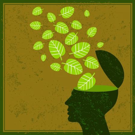 pensar en verde salvar la tierra Ilustración de vector