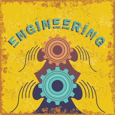 engineering concept: vintage engineering concept Illustration