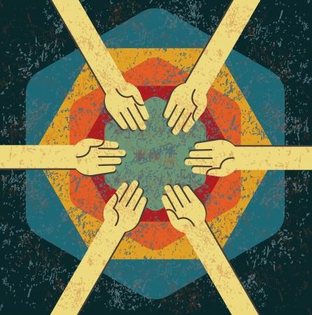 alianza: concepto de trabajo en equipo de cosecha Vectores