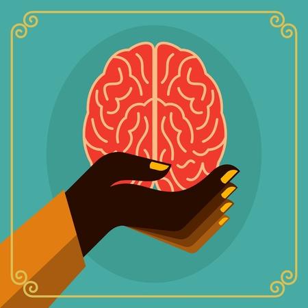 vintage brain idea Vector