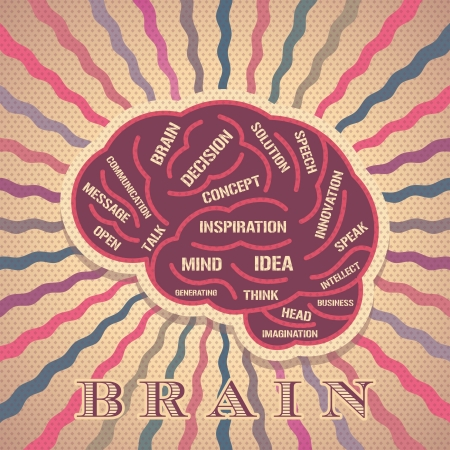 psique: la idea del cerebro vendimia Vectores