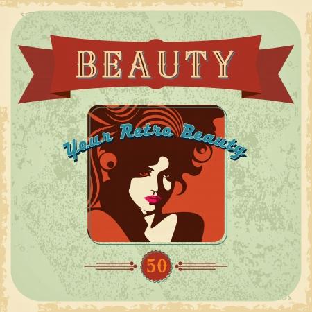 ビンテージ: ヴィンテージの美しい女性のシルエット  イラスト・ベクター素材