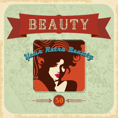 vintage Beautiful woman silhouette Vector