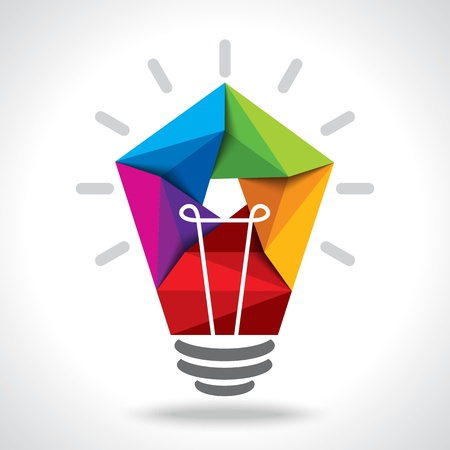 cartoon light bulb: creative idea vector Illustration