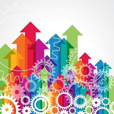 m�nner business: Pfeil und Getriebe, Business-Konzept Illustration
