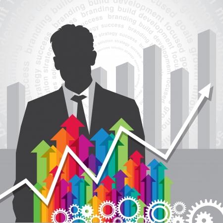 gestion: hombre de negocios con las flechas concepto de negocio Vectores