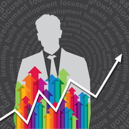 wealth abstract: businessman with arrows  business concept