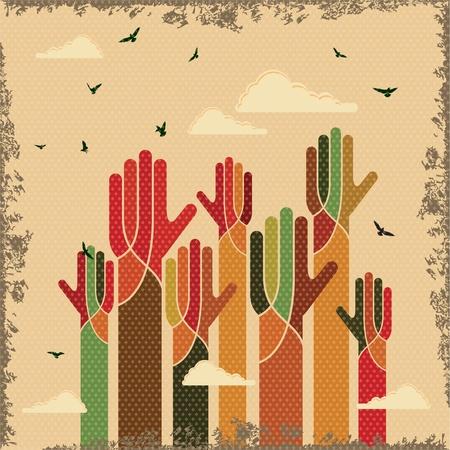 vieze handen: vintage vector van teamwork