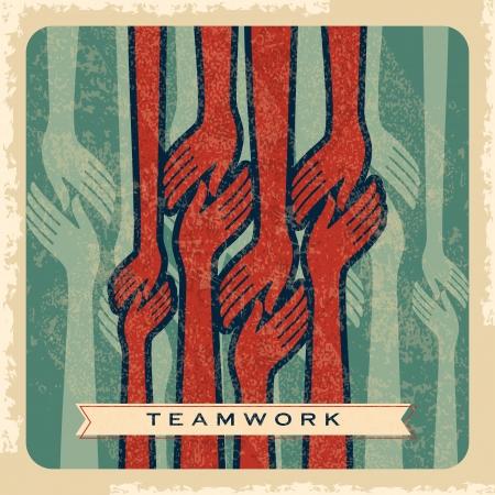 Jahrgang Vektor der Teamarbeit