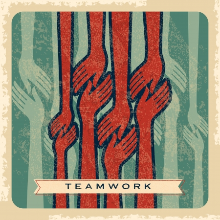 helping hand: vintage vector of teamwork