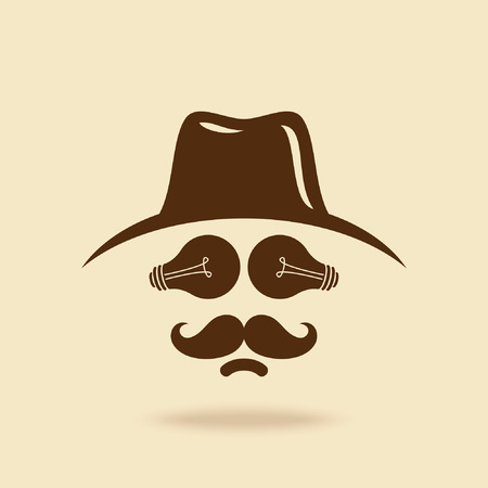 chaplin: cowboy with mustache icon Illustration