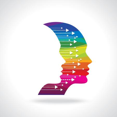 Tankar och alternativ vektor illustration av huvudet med pilar Illustration
