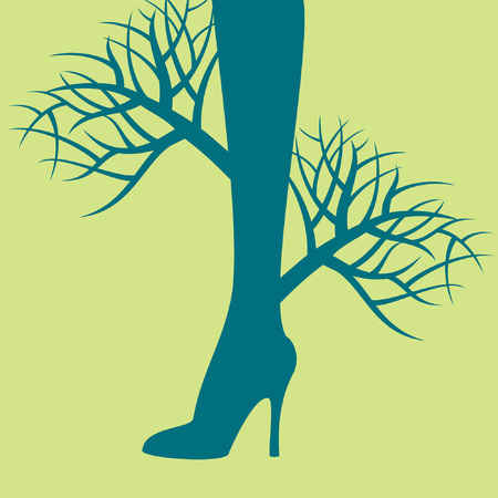 beautiful women legs with nature concept Vector