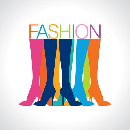 tienda de zapatos: piernas hermosas mujeres que usan tacones altos zapatos de ilustración vectorial
