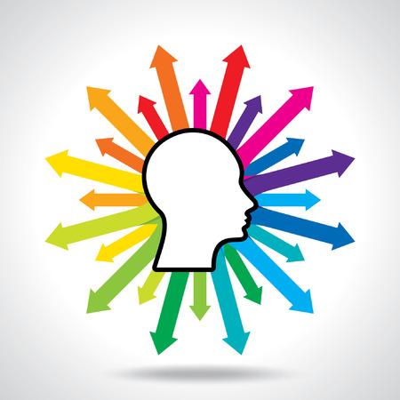 Gedachten en opties vector illustratie van het hoofd met pijlen