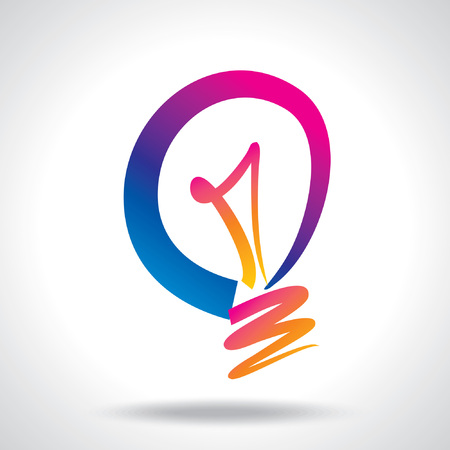 creative power: colorful idea bulb vector