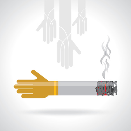 smoldering cigarette: cigarette with hands creative idea
