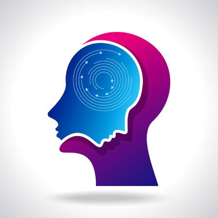 psicologia: Los pensamientos y las opciones de ilustración vectorial de cabeza con flechas Vectores