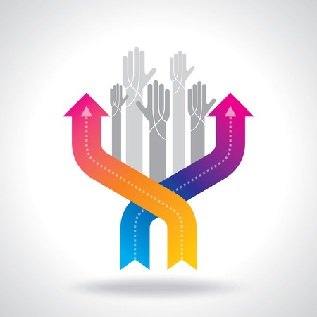 moving forward: human hand and business chart arrows