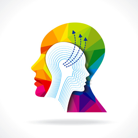 enigma: Thoughts and options  vector illustration of head with arrows Illustration